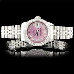 Rolex SS DateJust 1.00ct Diamond Ladies Wristwatch