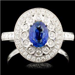 18K Gold 0.70ct Sapphire & 0.52ctw Diamond Ring