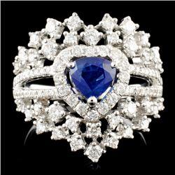 18K Gold 0.83ct Sapphire & 1.02ctw Diamond Ring