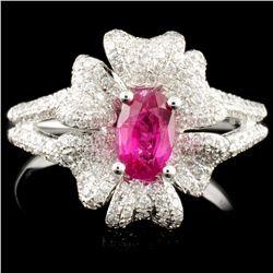 18K Gold 0.70ct Ruby & 0.63ctw Diamond Ring