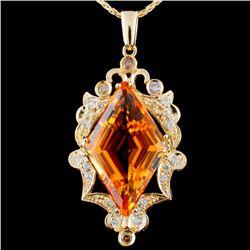 14K Gold 18.83ct Citrine & 0.97ctw Diamond Pendant