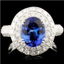 14K Gold 2.14ct Tanzanite & 1.71ctw Diamond Ring