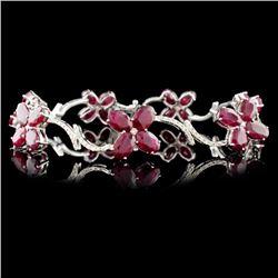 14K Gold 17.45ct Ruby & 1.14ctw Diamond Bracelet