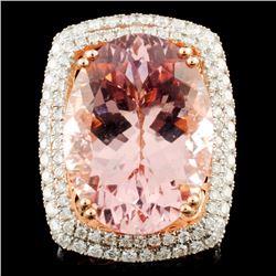 14K Gold 19.15ct Morganite & 1.57ctw Diamond Ring