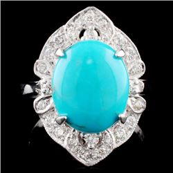 14K Gold 2.75ct Turquoise & 0.40ctw Diamond Ring