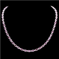 `14k Gold 25ct Sapphire 1.20ct Diamond Necklace