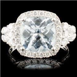 14K Gold 2.77ct Aquamarine & 0.77ctw Diamond Ring