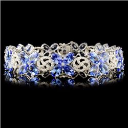 14K Gold 21.42ct Tanzanite & 1.65ctw Diamond Brace