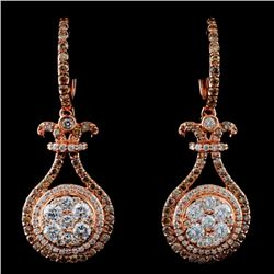 14K Rose Gold 1.81ctw Fancy Color Diamond Earrings