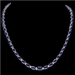 `14k Gold 29ct Sapphire 1.10ct Diamond Necklace