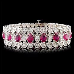 14K Gold 21.50ct Ruby & 3.25ctw Diamond Bracelet