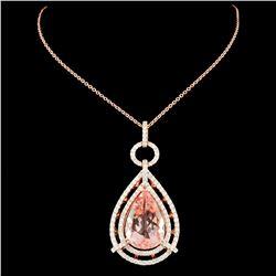 14K Rose Gold 10.37ct Morganite & 1.37ctw Diamond