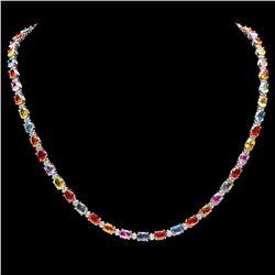 `14k Gold 29ct Sapphire 1.45ct Diamond Necklace