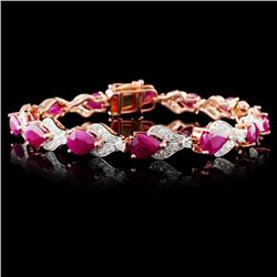 14K Rose Gold 10.67ct Ruby & 1.58ctw Diamond Brace