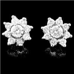 14K Gold 0.87ctw Diamond Earrings