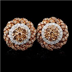 14K White Gold 1.72ctw Fancy Color Diamond Earring