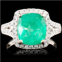 18K Gold 3.45ct Emerald & 0.54ctw Diamond Ring