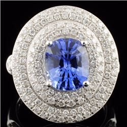 18K Gold 3.01ct Sapphire & 1.27ctw Diamond Ring