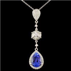 18K Gold 3.51ct Tanzanite & 0.56ctw Diamond Pendan