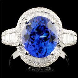 18K Gold 3.54ct Tanzanite & 0.66ctw Diamond Ring