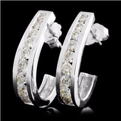 14K White Gold 1.36ctw Diamond Earrings