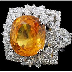 18K Gold 8.16ct Yellow Sapphire & 1.84ct Diamond R