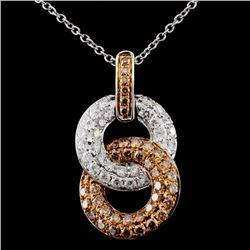 14K White Gold 1.16ctw Fancy Color Diamond Pendant