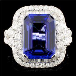 18K Gold 8.12ct Tanzanite & 1.58ctw Diamond Ring