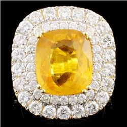 18K Gold 7.66ct Sapphire & 2.99ctw Diamond Ring