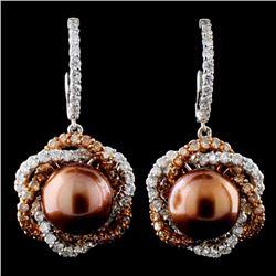 14K Gold 9.5MM Pearl & 1.99ct Fancy Diamond Earrin