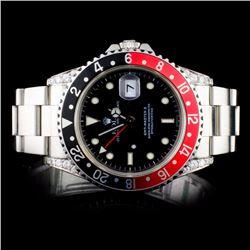Rolex SS GMT-Master II Diamond Wristwatch