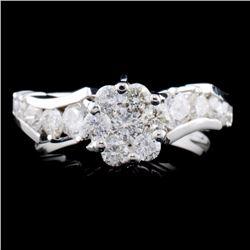 14K White Gold 1.05ctw Diamond Ring