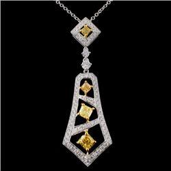 18K White Gold 1.15ctw Fancy Color Diamond Pendant