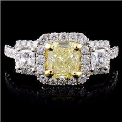 18K White Gold 1.61ctw Fancy Color Diamond Ring
