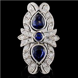 14K Gold 3.76ct Sapphire & 0.86ct Diamond Ring