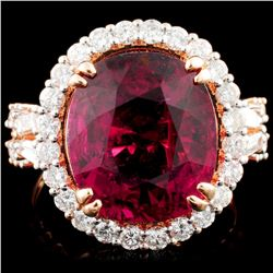 18K Gold 9.73ct Rubellite & 1.39ctw Diamond Ring