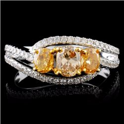 18K White Gold 1.19ctw Fancy Color Diamond Ring