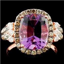 14K Gold 3.40ct Amethyst & 0.81ctw Diamond Ring