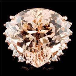 14K Gold 20.17ct Morganite & 0.49ctw Diamond Ring