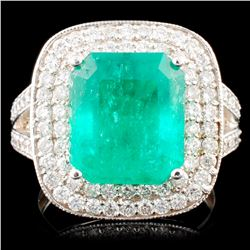 18K Gold 5.50ct Emerald & 1.09ctw Diamond Ring