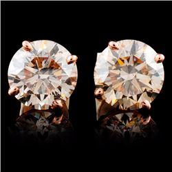 14K Rose Gold 4.06ctw Stud Diamond Earrings