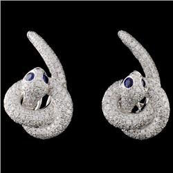 14K White Gold 0.22ct Sapphire & 2.19ct Diamond Ea