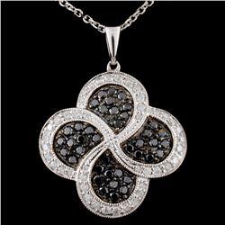 14K White Gold 0.80ctw Fancy Diamond Pendant