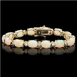 `14k Gold 15ct Opal 1.10ct Diamond Bracelet