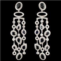 18K Gold 6.13ctw Sapphire & 3.37ctw Diamond Earrin