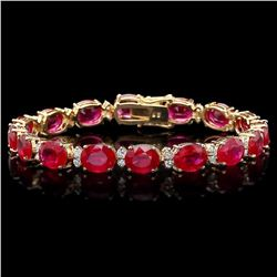 `14k Gold 36.23ct Ruby 1.50ct Diamond Bracelet