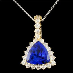 18K Gold 6.84ct Tanzanite & 1.96ctw Diamond Pendan