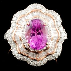 14K Gold 1.90ct Sapphire & 1.31ctw Diamond Ring