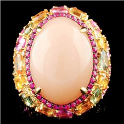 18K Gold 24.38ct Moonstone & 1.02ctw Diamond Ring