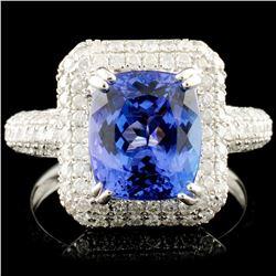 18K Gold 2.95ct Tanzanite & 1.13ctw Diamond Ring